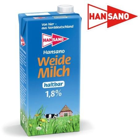 Hansano Weidemilch 1,8% Fett (12 x 1,0 Ltr.)
