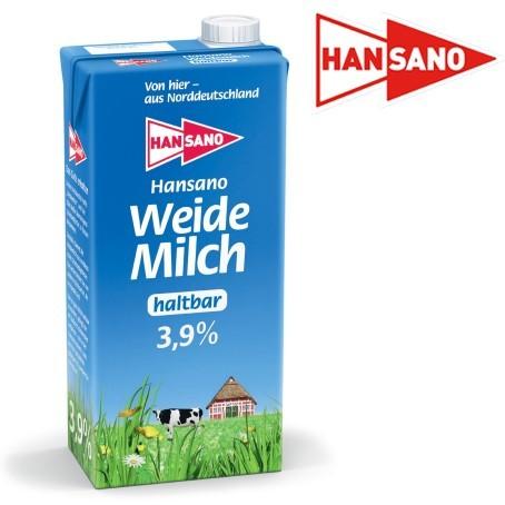 Hansano Weidemilch 3,9% Fett (12 x 1,0 Ltr.)