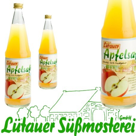 Lütauer Apfelsaft naturtrüb (6/0,7 Ltr. Glas MEHRWEG)
